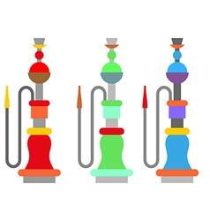 Set colorful arabic hookah turkish national vector
