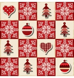 Seamless christmas background in a patchwork style vector
