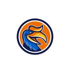 Hornbill Head Circle Retro vector image