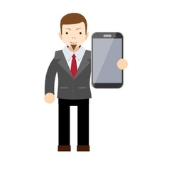 Businessman showing a blank smart phone screen vector