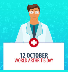 12 october world arthritis day medical holiday vector