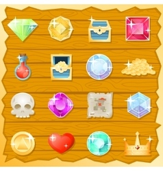 Pirate Game Jewel Gold Skull Trasure Chest Potion vector image