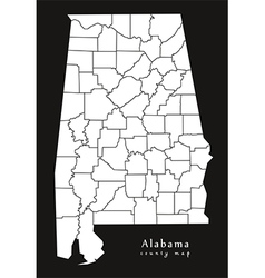 Alabama county map black vector