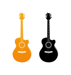 Golden icon of acoustic guitar vector