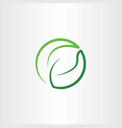 Leaf green eco symbol logo icon circle vector