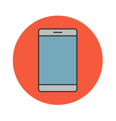 Mobile phone flat line icon vector