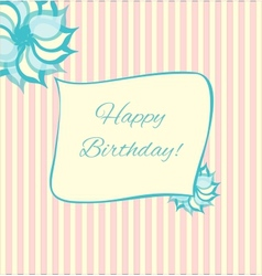 Retro style birthday card in pink and blue vector