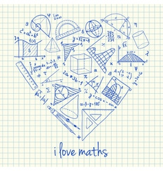 I love math doodles in heart vector