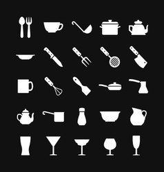 Set icons of dishware and kitchen accessories vector