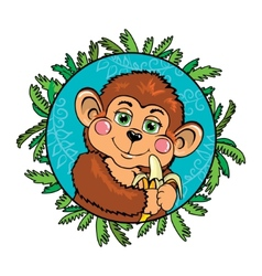 Funny monkey with a banana in her hand as part of vector