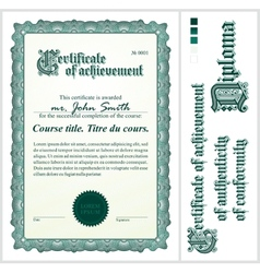 Green certificate template vertical vector