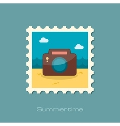 Photo camera flat stamp vector