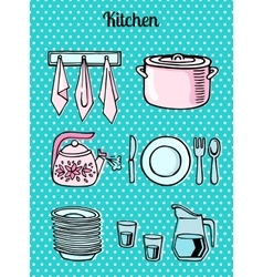 Kitchen tools on a turquoise background vector