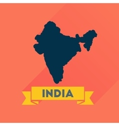 Flat icon with long shadow india map vector