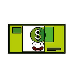 Bill dollar kawaii character vector