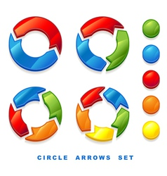 circle arrows set vector image vector image