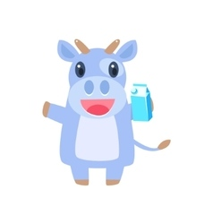 Cow Holding Box Of Milk vector image vector image