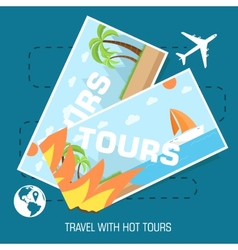 Flat travel with hot tours tickets design concept vector