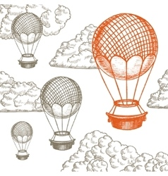 Fly Ballon in Clouds Hand Draw Sketch vector image