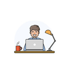 happy man working on computer vector image