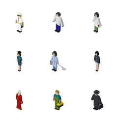 Isometric people set of seaman female male and vector