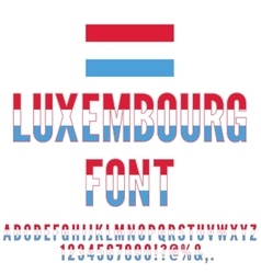 Luxembourg flag font vector