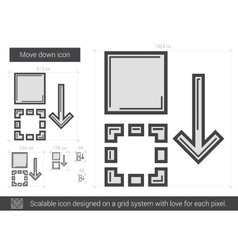 Move down line icon vector