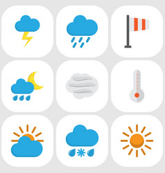 Nature flat icons set collection of drizzles vector