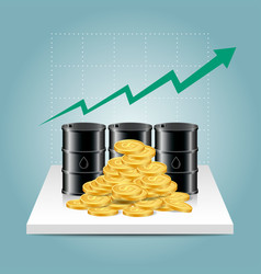 oil industry concept oil price growing up graph vector image