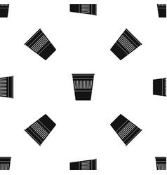 Plastic office waste bin pattern seamless black vector