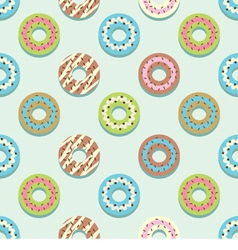Seamless pattern different style colorful donuts vector