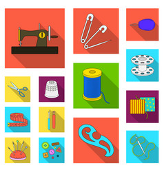 sewing atelier flat icons in set collection for vector image
