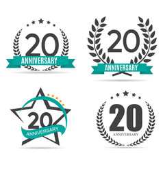Template Logo 20 Years Anniversary Set vector image