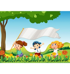 Three kids running with a banner vector image vector image