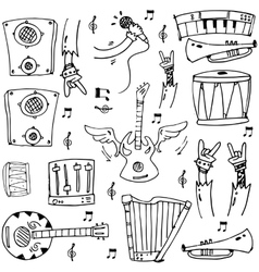 Doodle of hand draw stock music theme vector