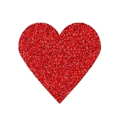 Glittering red heart shape isolated on white vector