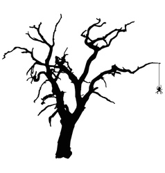 Spooky tree with spider vector