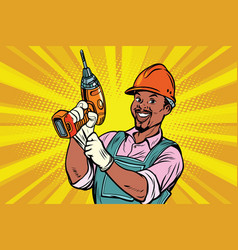 Construction african american worker with the vector