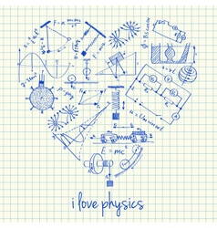 I love physics doodles in heart vector