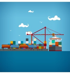 Cargo sea port vector