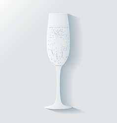 3d glass of champagne with bubbles vector