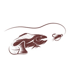 Trout and lure design template vector