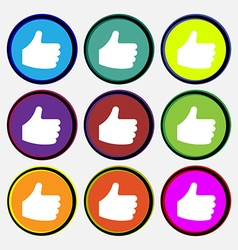 Like thumb up icon sign nine multi-colored round vector