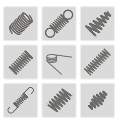 Monochrome icons with springs vector