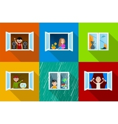 People in windows vector