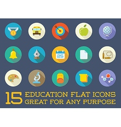 Set of education flat icons can be used as logo or vector