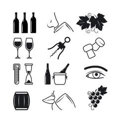 Wine black icons set vector image