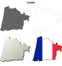 Landes aquitaine outline map set vector