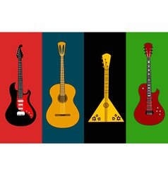 Four isolated flyers with guitars vector