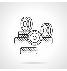 Wheels for rollers flat line icon vector